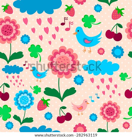 pink blue pattern with birds