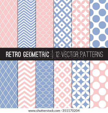 pink blue retro geometric