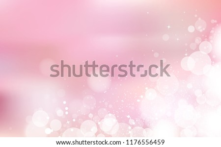 Pink Bokeh pastel romantic, celebration festival with stars scatter light shining concept, confetti falling, snowy, glowing blur blinking holiday season abstract background vector illustration