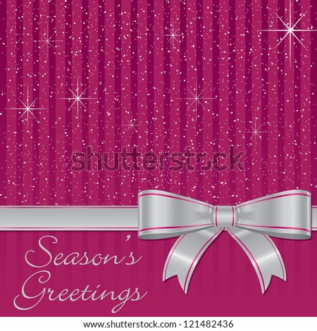 Pink bow and stars Christmas card in vector format.