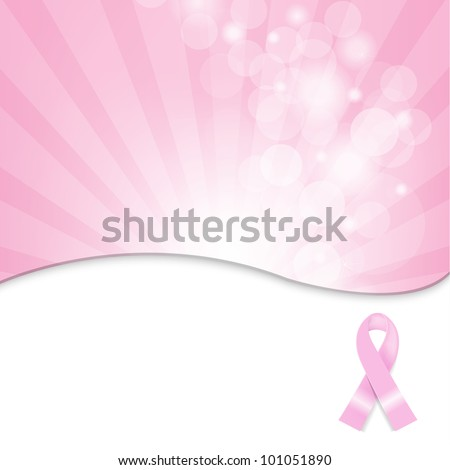 Pink Breast Cancer Ribbon Background, Vector Illustration