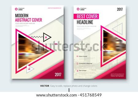 pink brochure flyer design template in geometric shape download