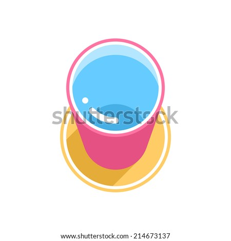 Buy and Sell Stock Vector illustration: Pink bucket with clean water with long shadow on yellow circle icon on white background in 3d flat style