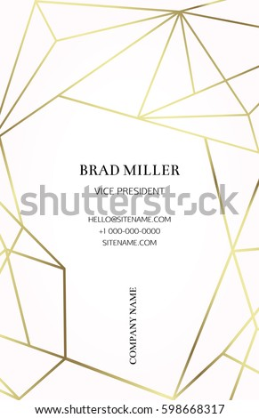 Pink business card with a geometric pattern. Gold polygonal texture. Corporate identity template in trendy colors with geometric shapes for modern cute romantic design. Art deco style.Vector. EPS 10