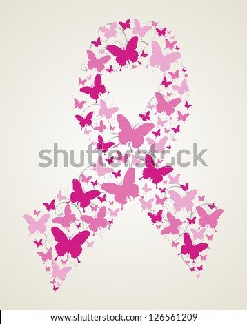 Pink butterflies in breast cancer awareness ribbon symbol. Vector file layered for easy manipulation and custom coloring.