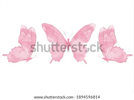 pink butterfly Watercolor colorful butterflies, isolated on white background. blue, yellow, pink and red butterfly spring illustration Tawny Orange Monarch Butterfly