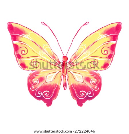 pink butterfly watercolor