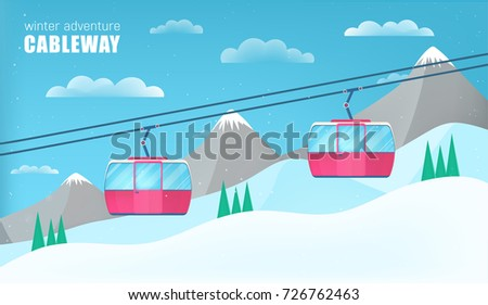 pink cable cars moving above