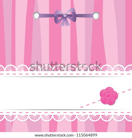 pink card with laces, flower and ribbon