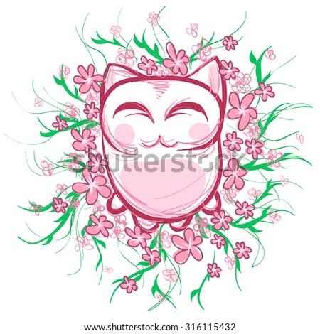 Pink cartoon catt with pink flowers white backgroundeen vine pink cartoon catt with pink flowers white backgroundeen vine with leaves mightylinksfo