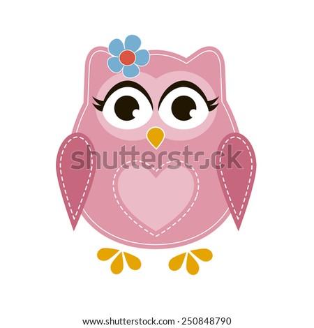 Pink cartoon owl
