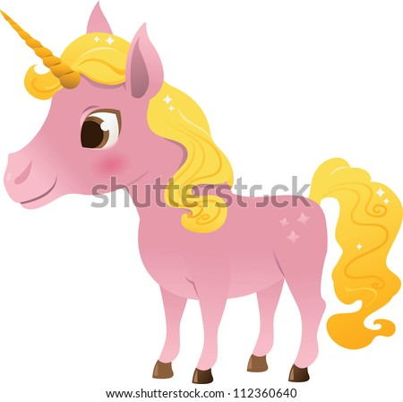 Pink cartoon unicorn with gold mane