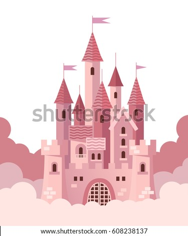 pink castle with clouds vector