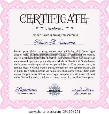 Pink Certificate of achievement. Retro design. Vector certificate template. With complex linear background.