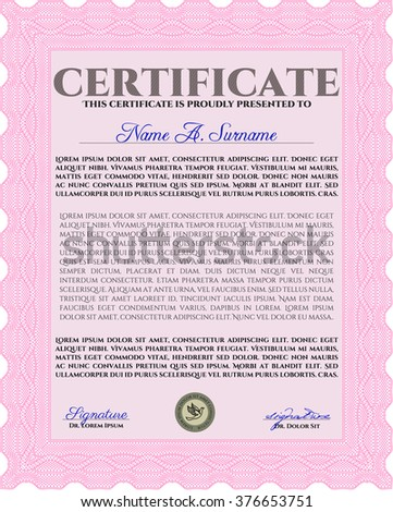 Pink Certificate of achievement. With complex linear background. Vector certificate template. Retro design.