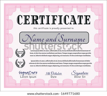 Pink Certificate template or diploma template. Beauty design. Customizable, Easy to edit and change colors. With great quality guilloche pattern.