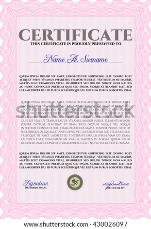 Pink Certificate template or diploma template. Complex background. Beauty design. Vector pattern that is used in currency and diplomas.