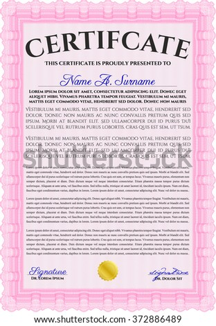 Pink Certificate template or diploma template. Superior design. Complex background. Vector pattern that is used in currency and diplomas.