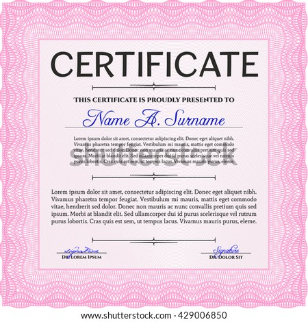 Pink Certificate template or diploma template. Vector pattern that is used in currency and diplomas.Superior design. Complex background.
