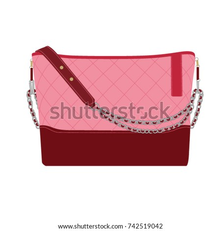 Pink Chanel handbag isolated on white background