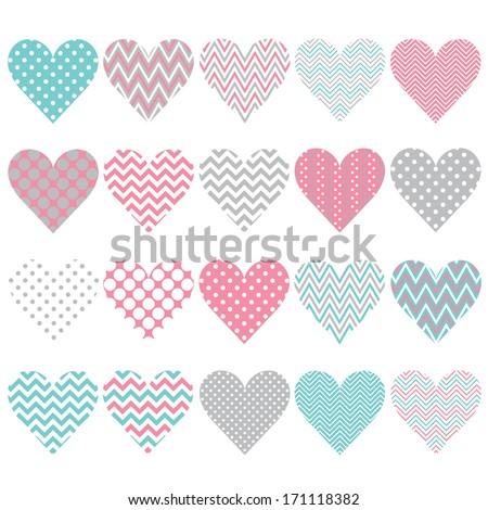 pink chevron polka dot heart