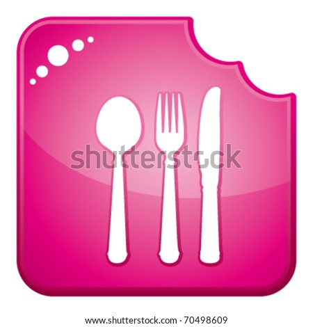 Pink chewed dining symbols icon button. vector and isolated.