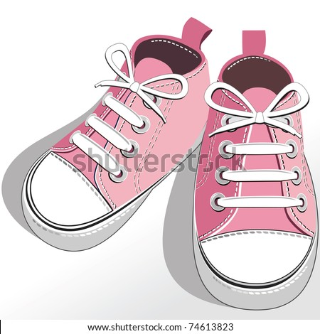 Pink childrens or young adult shoes, pair kids sneaker, pink girls shoes. Vector illustration.