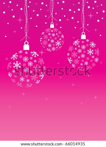 pink christmas background with snowflake hanging decorations