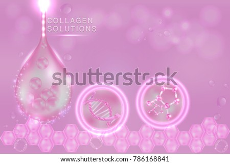 pink collagen serum drop with