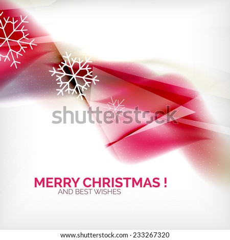 Pink color Christmas blurred waves and snowflakes abstract background