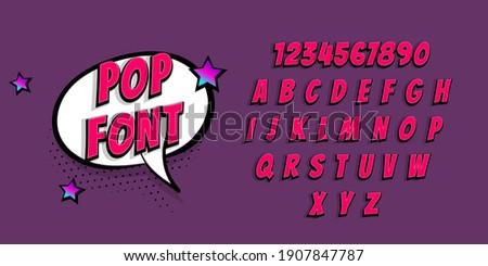 Pink comic book pop art superhero font. Comic text alphabet collection. Bold comics book font with halftone shadow. Speech bubble for text.