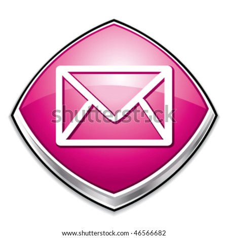 stock vector : Pink contact or message diamond icon. Vector  illustration.