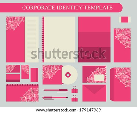 Pink corporate identity design template with beige elements. Business kit. Vector illustration #179147969