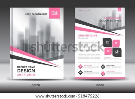 Pink Cover Annual report brochure flyer template creative design, Front and inside page layout, infographics vector