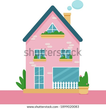 Pink cozy dollish house with plants and windows. Vector illustration. Stock photo ©