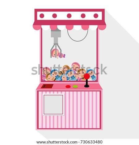 pink crane game play machine for doll on white background