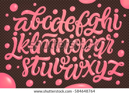 Pink Cream on Chocolate Wafer Background. Ice cream font.