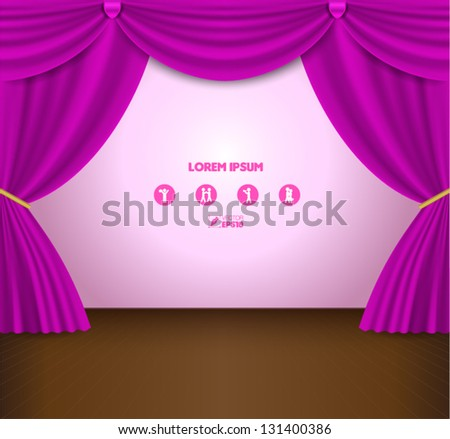 Pink Curtain Vector