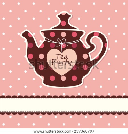 Pink cute background with teapot