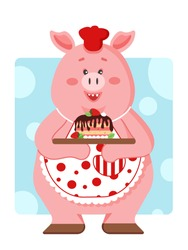 Pink cute pig in colored clothes baked a strawberry cake with chocolate icing on a blue background. Vector illustration.  Cooking art.