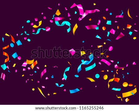 Pink cyan blue yellow glossy holiday realistic confetti flying vector background. Glamorous flying tinsels, foil texture serpentine streamers, sparkles, confetti falling festive background.