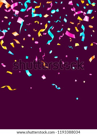 Pink cyan blue yellow shiny holiday realistic confetti flying vector background. Modern flying tinsels, foil texture serpentine streamers, sparkles, confetti falling anniversary background.