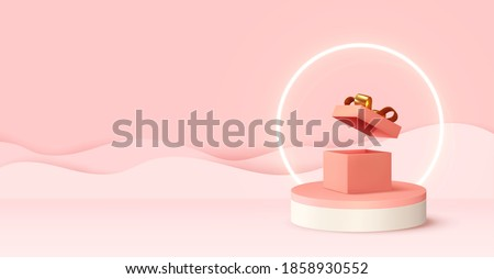 Pink 3d podium studio. Abstract modern stylish realistic design round stand with open gift box, neon light ring. Background for birthday, anniversary, sale, wedding. Web banner. Vector illustration