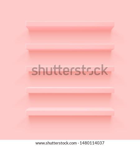 Pink 3d shelf on the wall. Wooden horizontal realistic empty shelf.