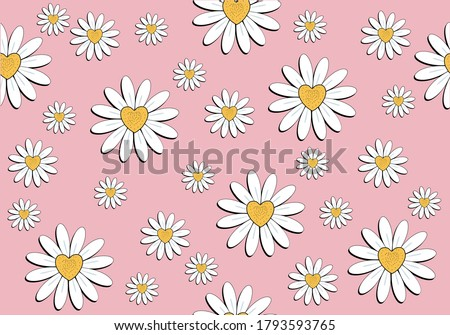 pink daisy pattern daisy seamless pattern vector design hand drawn spring daisy flower  fabric towel design pattern summer print  ditsy flower,spring,stationary,fabric,paper,packet,fashion creative