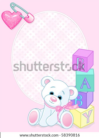 pink design with teddy bear and