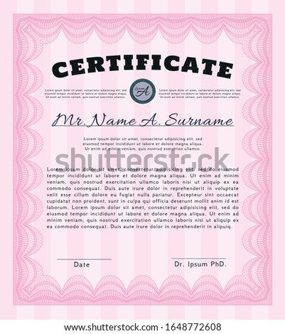 Pink Diploma template or certificate template. Superior design. Customizable, Easy to edit and change colors. With guilloche pattern and background.
