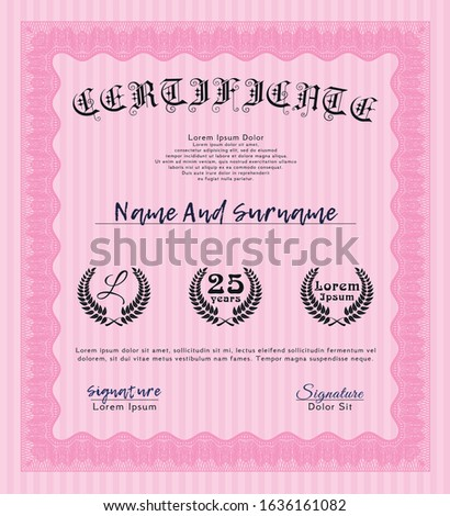 Pink Diploma. With complex background. Customizable, Easy to edit and change colors. Good design.