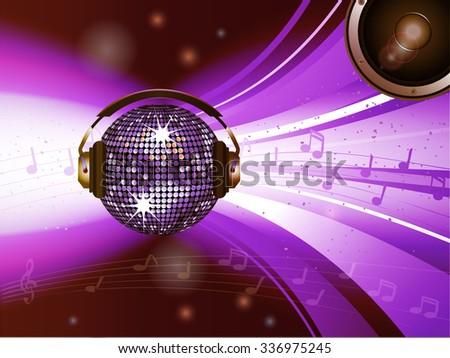 pink disco ball with headphones