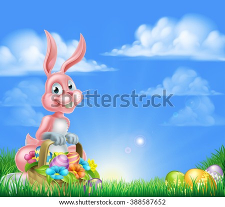 pink easter bunny with a basket